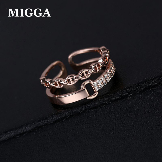 MIGGA 2018 Opening Design Double Layer Fashion Ring Hollow Geometric Women Rings