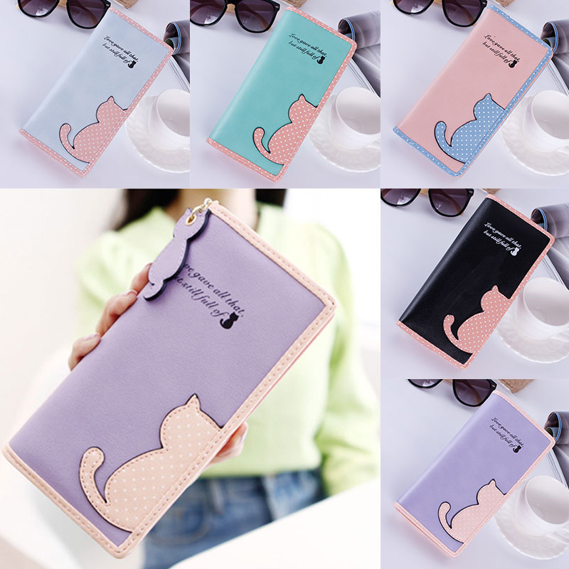 New Women Wallets Long Section Female Cute Cat Hit Color Wave Point Zipper Wallet Student Purse BS88 women long wallet cat zipper