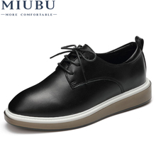 MIUBU Women Basic Casual Flats Shoes Soft Leather Lace up Rubber Female Moccasins High Quality Spring Fashion Black Derby Shoes 2018 new women flats 3d flower straw fisherman shoes fashion casual female high quality shoes spring summer black white 35 40