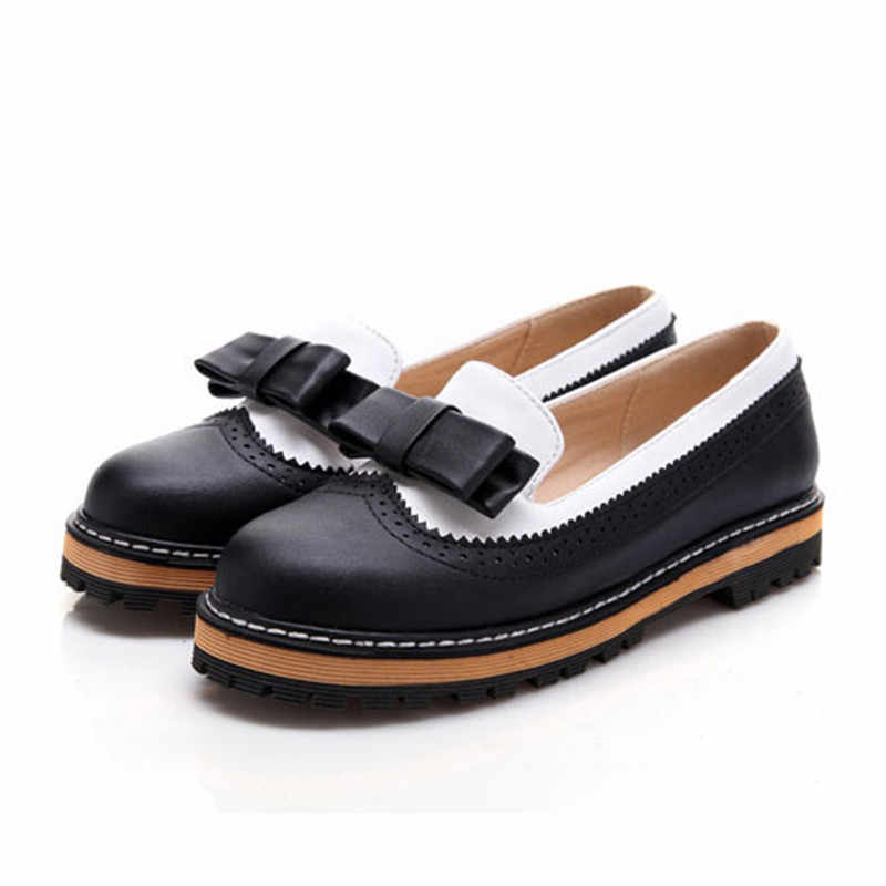 ANMAIRON/новые женские модные милые Стильные повседневные туфли на низком каблуке с круглым носком; весенние туфли для осени вечерние балетки на плоской подошве с большим бантом