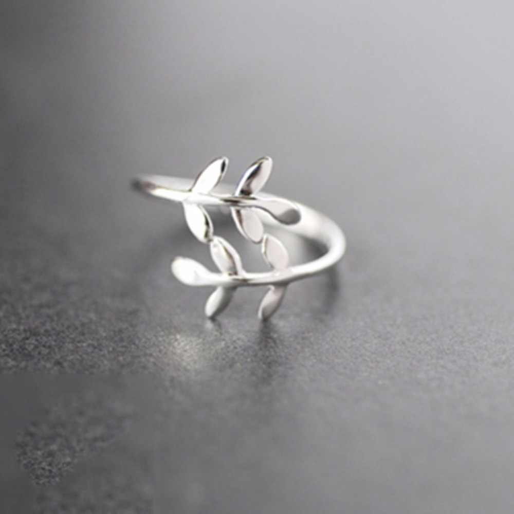 Charms Olive Tree Branch Leaves Open Rings for Women Girl Wedding Rings Adjustable Knuckle Finger Jewelry 4RD195