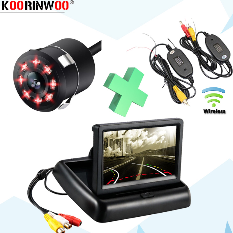 """Koorinwoo 4.3"""" Intelligent Dynamic Trajectory Parking Car Rear View IP68 Infrared Blind Zone Side View Camera Folding Monitor Vehicle Camera     - title="""