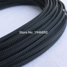 1/10/100 Meters Black - High quality 4mm Braided PET Expandable Sleeving Density Sheathing Plaited Cable Sleeves
