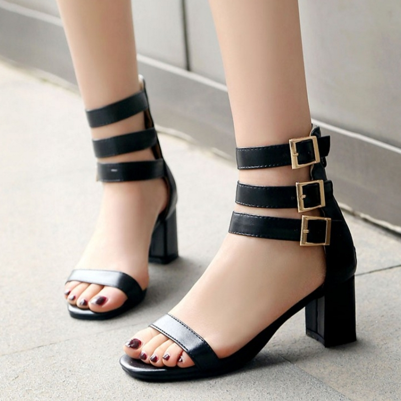 3568c4270c7 ... SJJH 2018 Open Size Chunky and Shoes Roman Toe Gladiator Sandals with  Woman Party Narrow A639 ...