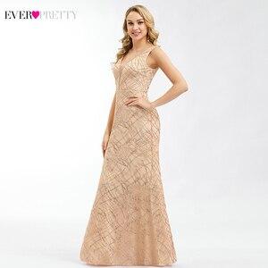 Image 4 - Ever Pretty Rose Gold Prom Dresses V Neck Elegant Evening Party Gowns Sparkle Little Mermaid Dresses Robe De Soiree Paillette