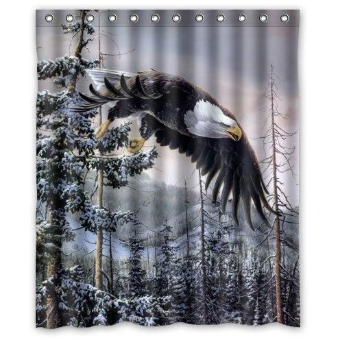 Custom It mountain winter bald eagle Design stall mildew resistant Waterproof Bathroom Fabric Shower Curtain 60 x 72