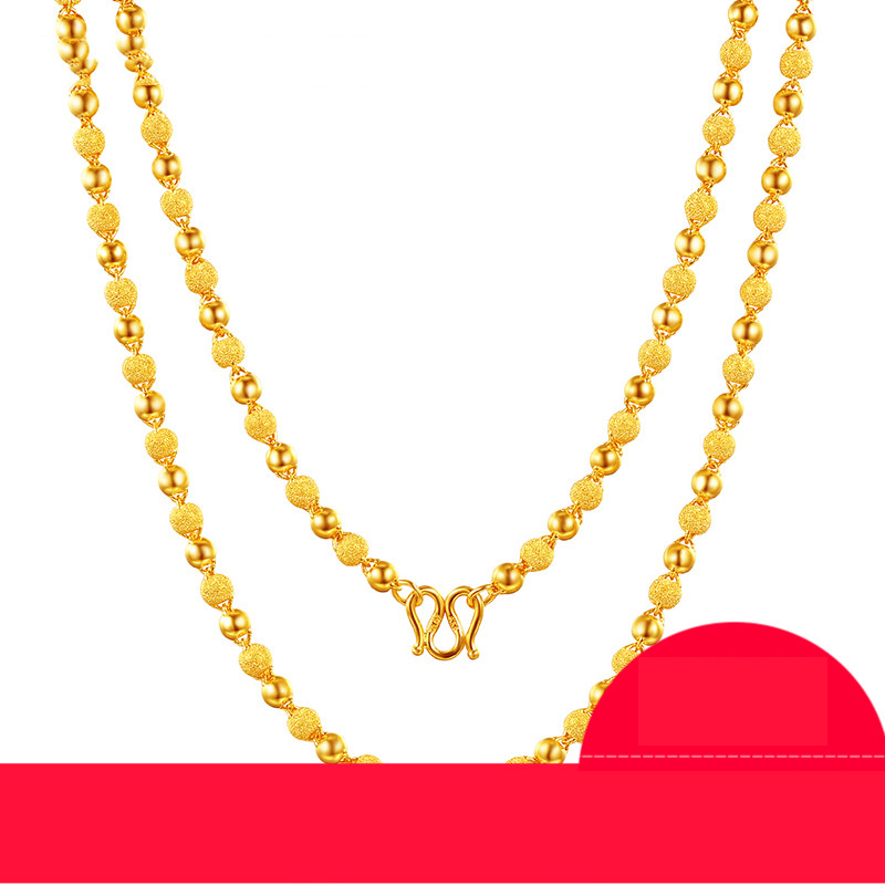 24K Pure Gold Necklace Real AU 999 Solid Gold Chain Nice Smooth Matte Beads Upscale Trendy Party Fine Jewelry Hot Sell New 2018 24k gold ring flower female women mother wife lady girl 2017new hot sale fine jewelry trendy good nice top upscale real pure 999