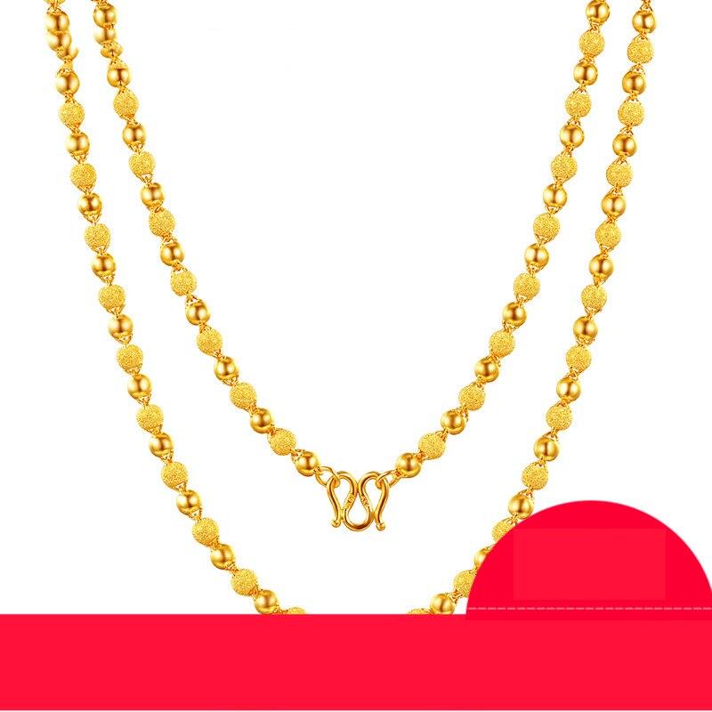 ZSFH 24K Puur Goud Ketting Real AU 999 Effen Gouden Ketting Mooie Gladde Matte Kralen Upscale Trendy Fine Jewelry hot Verkoop Nieuwe 2019-in Kettingen van Sieraden & accessoires op  Groep 1