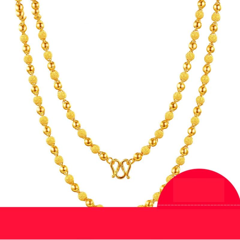 Takı ve Aksesuarları'ten Kolyeler'de ZSFH 24K Saf Altın Kolye Gerçek AU 999 Katı Altın Zincir Güzel Pürüzsüz Mat Boncuk Lüks Trendy Güzel Takı sıcak Satış Yeni 2019'da  Grup 1