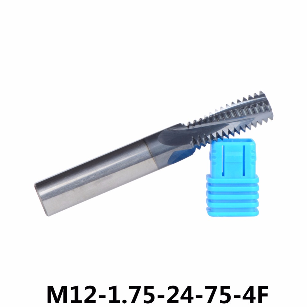 1pc M12 Tungsten Carbide thread end mill M12*1.75, thread mills, thread milling cutter with TIALN coating Metric 1.75mm Pitch fixmee 100pc metric thread