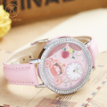 Miss Keke Fashion Children Cartoon Designer Watches Diamond Girls 3D Clay Rose Floral Watch Pink Leather Dress Wristwatches 1069
