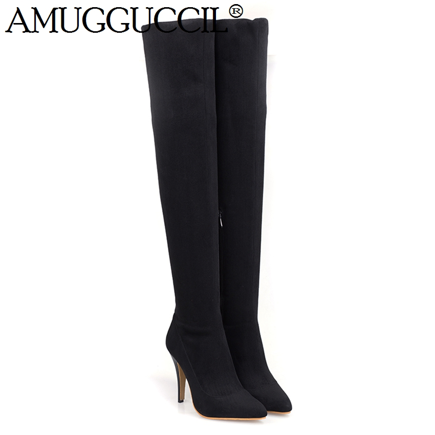 2017 New Plus Big Size 34-45 Black Red Purple Over The Knee Sexy Thigh High Heel Autumn Winter Female Lady Girl Women Boots X914 2016 brand new winter sexy women thigh high fur boots black gray lady over the knee shoes chunky heel etc02 plus big size 10 43