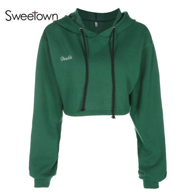 94dd26dc Sweetown Women Sweatshirts Hoodies Letter Embroidery Long Sleeve Loose Pullover  Hoodie Fashion Casual Green Crewneck Cropped Top