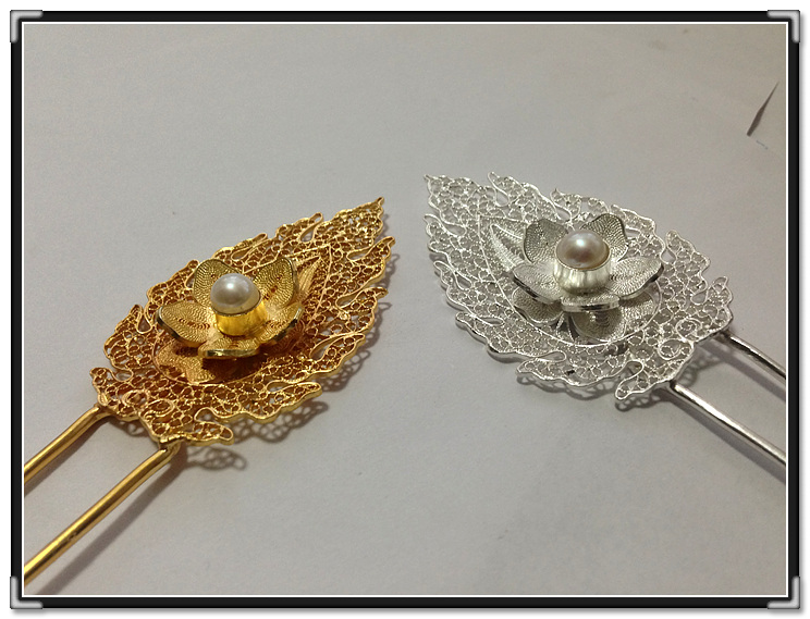 Imitate Ming Unearthed Antique Hair Stick Pure 999 Fine Silver Pure Handmade Pinach Artwork Miao Hair Accessories