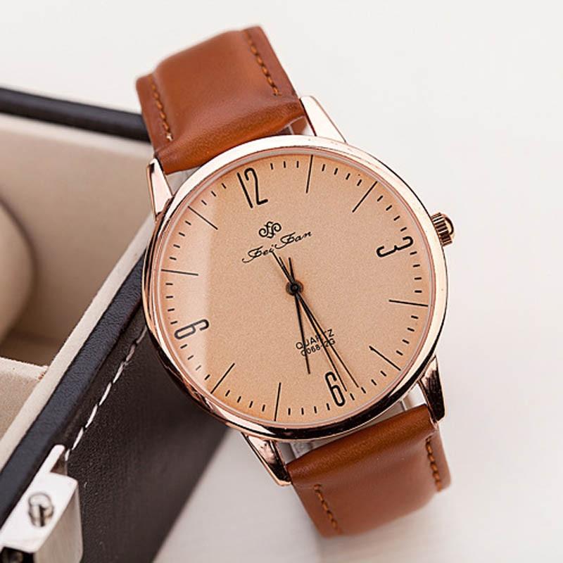 2017 Fashion Women Quartz Ultra-thin Man Women Casual Wrist Watch Leather Quartz Watch blue shope#3005