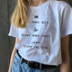 HELP MORE BEES Harajuku Tshirt Women Summer Causal Save The Bees PLANT MORE TREES T-shirt Wildflower Graphic Tees Woman Clothes 1