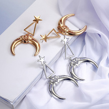 Korean Version Of The New Crescent Earrings Fashion Stars Pendant Gold And Silver Womens Temperament