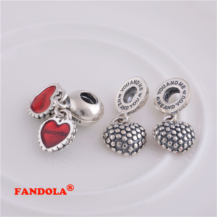 Authentic 925 Sterling Silver Mother & Daughter Dangle Screw Hole Charm Beads DIY Jewelry Fits Pandora Charms Bracelet LW087