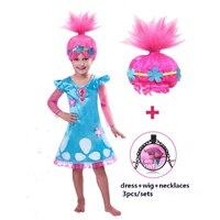 Girls Dress Trolls Poppy Cosplay Costumes Dress For Girls Bobo Choses Dresses Halloween Clothes Kids Dress