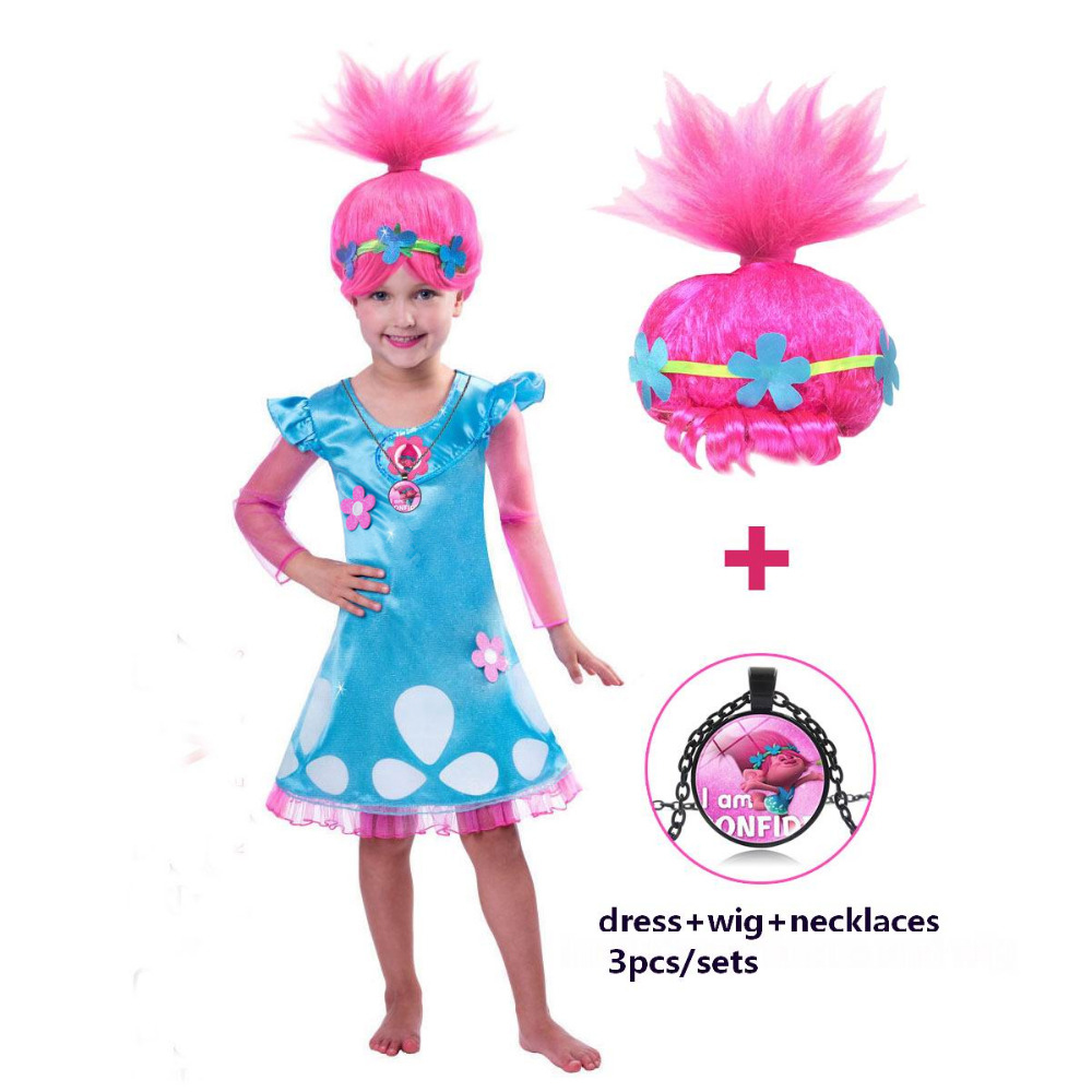 Girls Dresses Trolls Poppy Cosplay Costume Dress For Girl Poppy Dress Streetwear Halloween Clothes Kids Fancy Dresses Trolls Wig trolls wig dress set new year costumes for girls halloween carnival dresses moana clothes children vaiana party dress vestidos