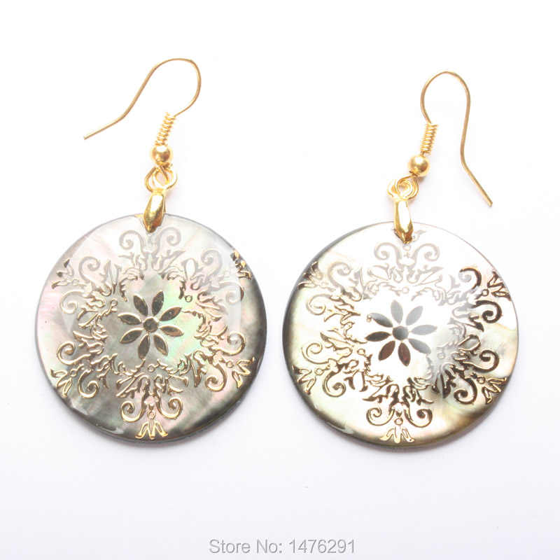30x30MM Natural Abalone Shell Gold Foil Flowers Circular Dangle Earrings 1Pair For Women
