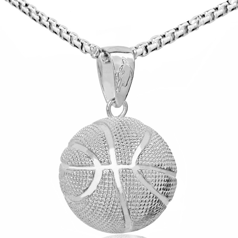 3D Basketball Necklaces Silver Color Pendant Sports Hip Hop Jewelry homme Stainless Steel Chain For Male Fathes Day Gifts 2018