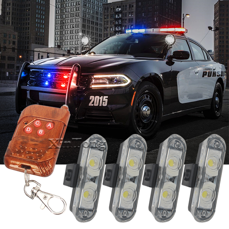 цена на Hot sale 4X2 Ambulance Police light 2LED Wireless Remote DC 12V led Warning light Car Truck Light Flashing Firemen Lights