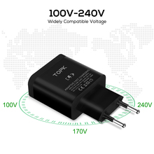 TOPK 18W Quick Charge 3.0 Fast USB Charger For iPhone Samsung Xiaomi huawei Travel Wall EU Plug Mobile Phone Charger adapter