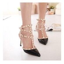 Top Fashion 11cm & 8cm High Heels T Straps Rivets High Heels Woman Sandal Shoes   Patent Leather Shoes for Women