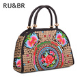 RU&BR New Fashion Casual National Wind Women Flower Embroidered Handbags Women Shoulder Bag Embroidery Handbags Canvas Handbags