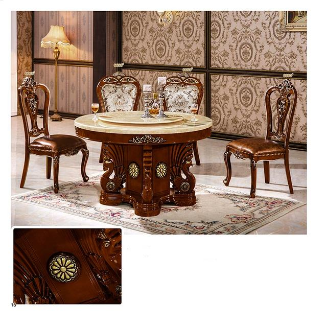 Dining Room Furniture Classical Solid Wood Table Sets Made In China