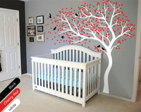 Large Tree flying Birds Wall Sticker DIY Kids Nursery Bedroom Wall Decoration Tree Decal Custom Color Mural Left Right NY 188
