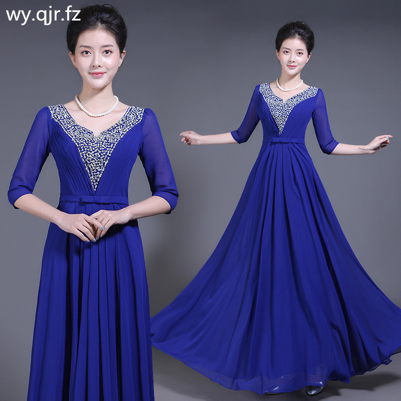 WSY72#Chiffon Set auger Blue Rrd Long   Evening     Dresses   Chorus Costume Bohemia Party   Dress   Prom Gown wholesale women clothing