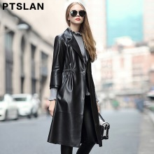 Ptslan 2017 new Elegant Women Real leather trench coat  fashion women spring autumn Real leather long coat