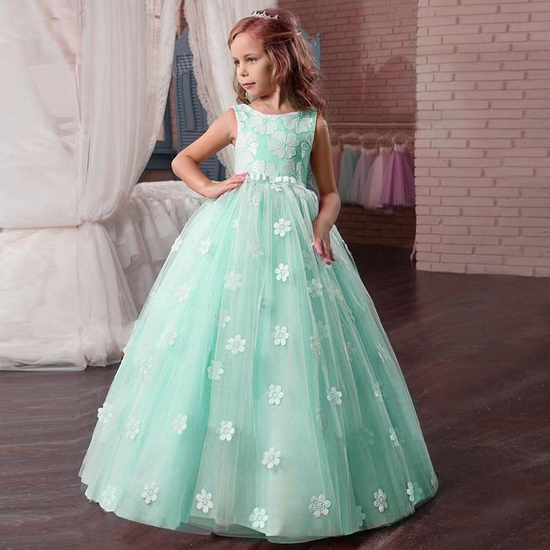 Кружевное платье с длинными рукавами для девочек, держащих букет невесты на свадьбе, на день рождения, банкет Элегантное Длинное белое кружевное платье с бабочкой для девочек - Цвет: green