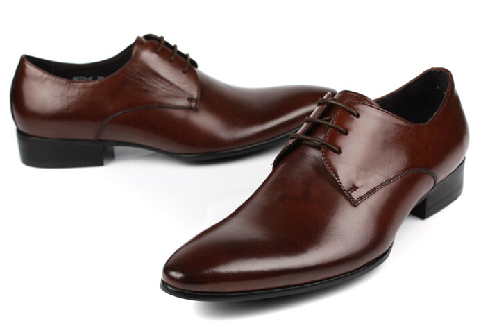 ac029216199ef Reddish brown black mens wedding shoes casual business shoes mens genuine  leather dress shoes mens office shoes formal-in Women s Flats from Shoes on  ...