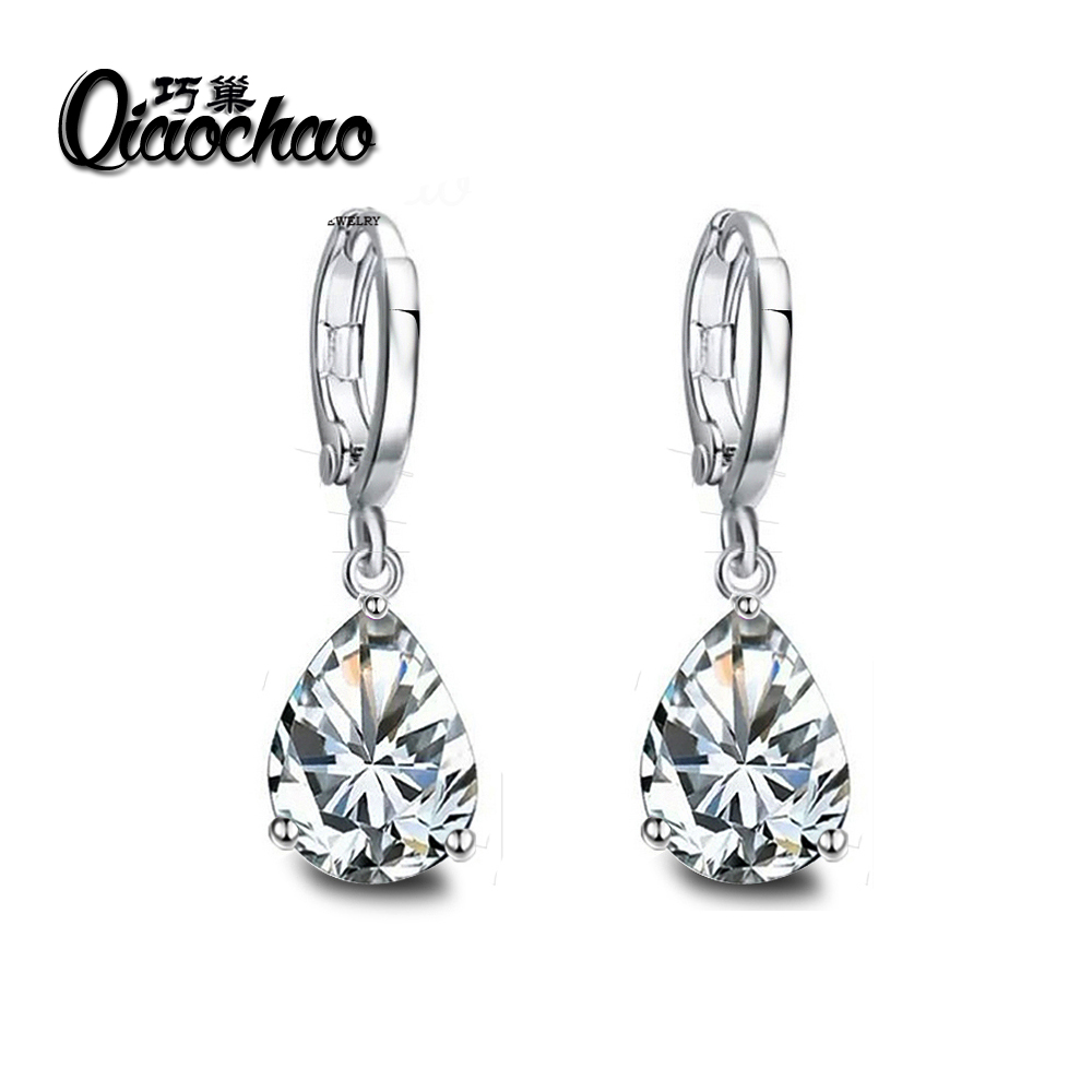 Fashion Silver Plated font b Crystals b font Zircon CZ Drop Dangle Earrings for Women Fashion
