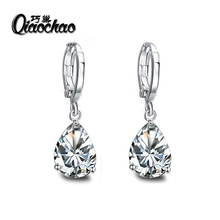 Fashion Silver Plated Crystals Zircon CZ Drop Dangle Earrings for Women Fashion Luxury Long Dangle Earrings Jewelry E448