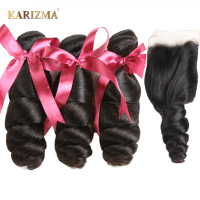 Karizma Brazilian Loose Wave Bundles With Closure 100 Human Hair Brazilian Hair Weave 3 Bundles With