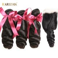 Karizma Brazilian Loose Wave Bundles With Closure 100 Human Hair Brazilian Hair Weave 3 Bundles With