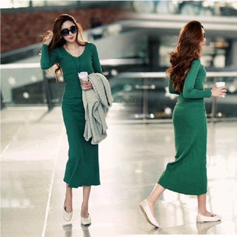 Vestido hot winter women Long Dress of micro V-neck dress sexy Slim package hip tight knit bottoming Dress Autumn Dress Vestidos