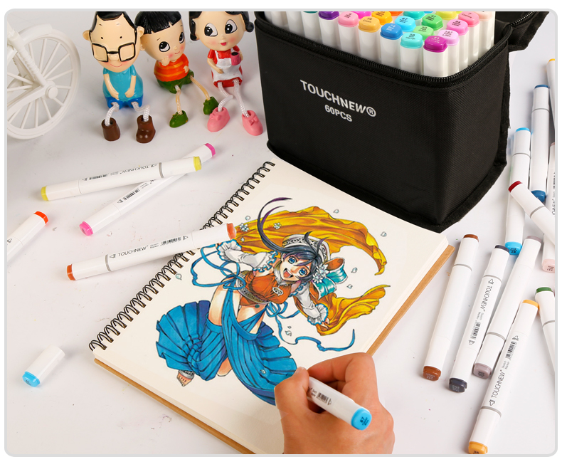 TOUCHNEW 30/40/60/80Color Dual Head Art Marker Set Alcohol Sketch Markers Pen for Artist Drawing Manga Design Art Supplier touchnew 30 40 60 80 colors artist dual head sketch markers set for manga marker school drawing marker pen design supplies