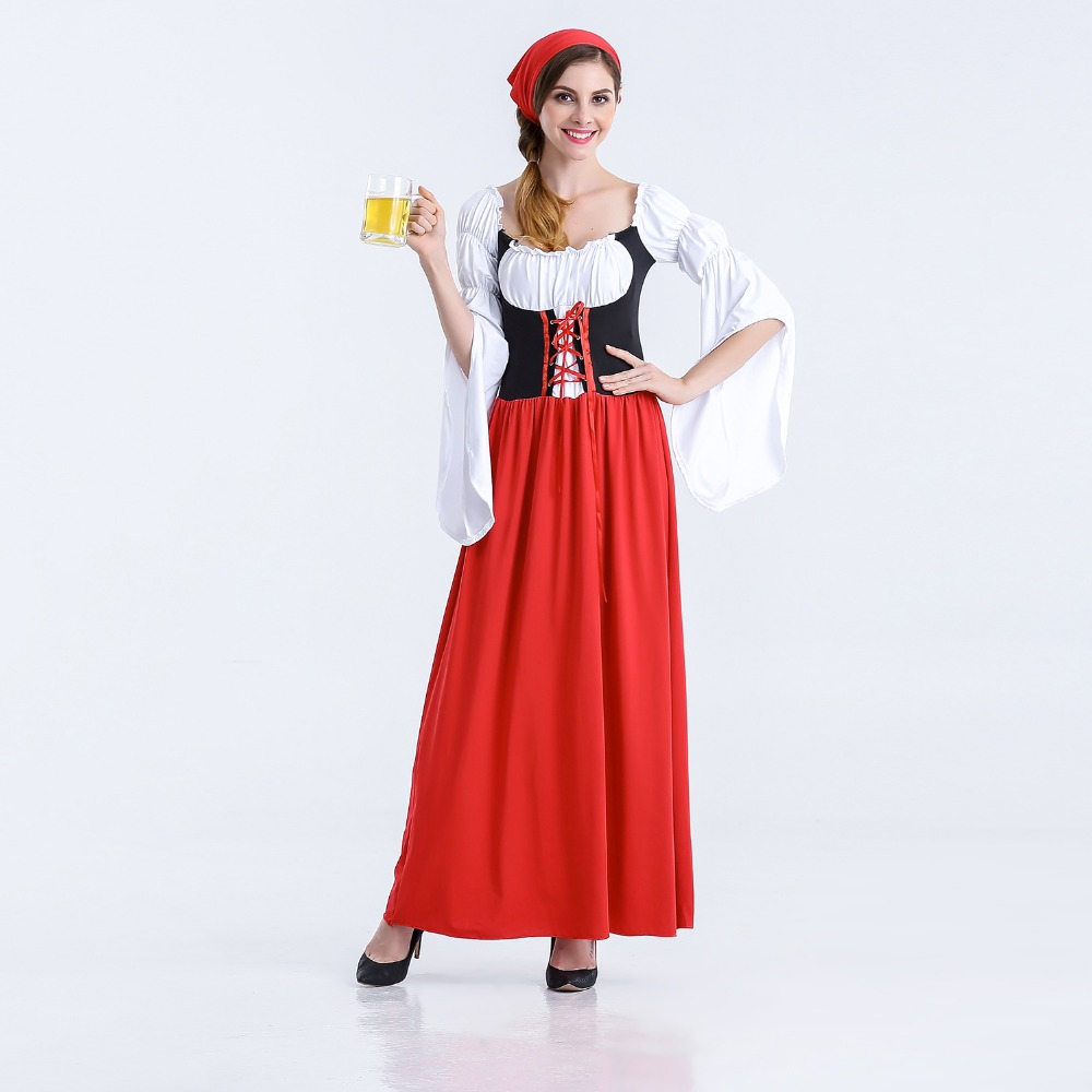 Grande Taille Long Section Beer Girl Fancy Dress Women Girl Wench Maiden Costume German Oktoberfest Costume for Halloween Party
