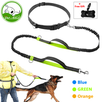 Hands Free Dog Leash For Running Walking Dual Handle Bungee Leash Reflective Stitching Adjustable Waist Belt
