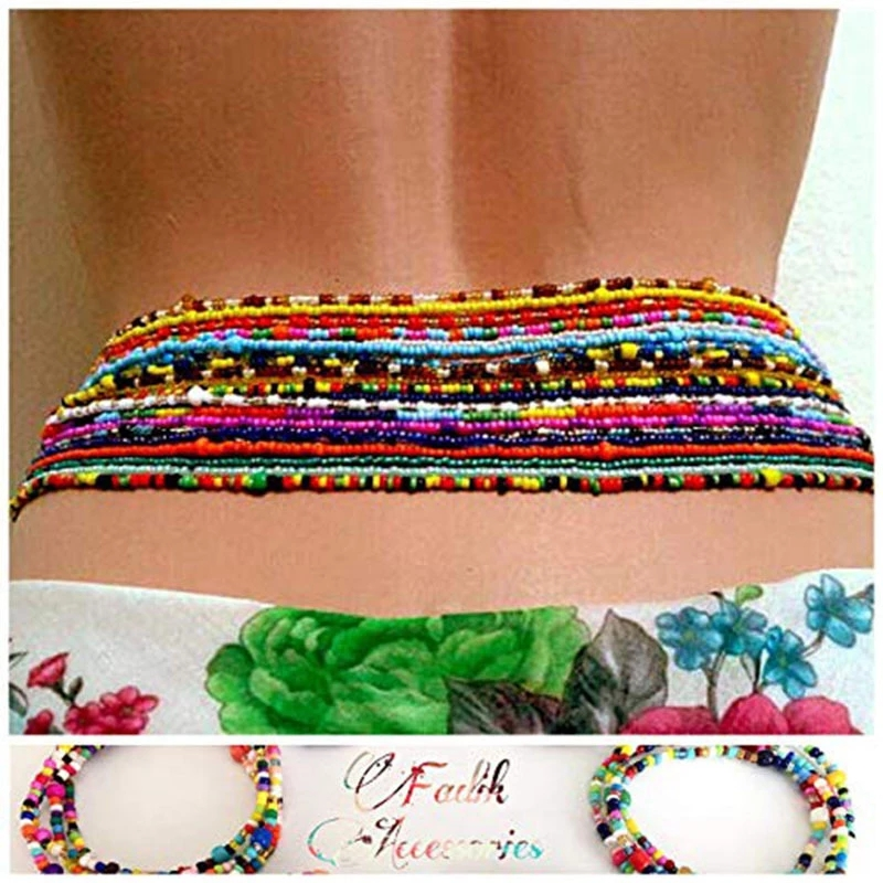 Bohemian Ethnic Double Strand Statement Body Chains Resin Beaded Belly Waist Chain African Waist Bead Sexy Tribal Jewelry