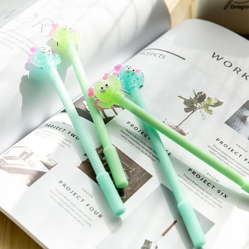 0.38 mm Cartoon Soldiers Cactus Gel Ink Pen Promotional Gift Stationery School & Office Supply Birthday Gift 2018 new arrival the cartoon bangtan boys ink pen cute cartoon gel pen promotional gift stationery school
