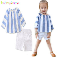 Babzapleume Summer Style Baby Girls Outfits Boutique Kids Clothing Sets Stripe T Shirt Shorts Children Clothes