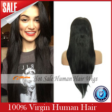 Silky Straight Glueless Full Lace Human Wigs Brazilian Virgin Hair Lace Front Wig For Black Women With Baby Hair Bob Wig