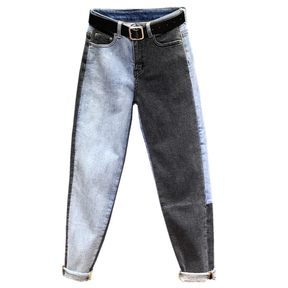 Plus Size 26-31! Patchwork Jeans Female High Waist Denim Long Trousers For Women Fashion Straight Feet Jeasn