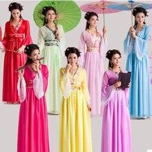 Китайское традиционное женское ханьфу китайское платье феи красный белый Hanfu одежда династии Тан Китайский древний костюм